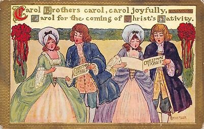 Marion Miller Christmas Carollers Dickensian Couples Share Music Gold Border 09