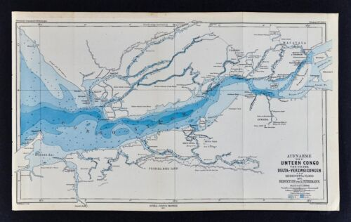 1877 Petermann Map - Medlycott & Flood Exploration of Lower Congo River Africa