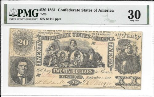 T20 PF-5 1861 $20 Confederate States of America CSA SN 64449 PMG 30