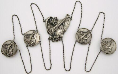 Art Nouveau Unger Bros Sterling Silver Belt Antique Victorian Ladies in Bonnets