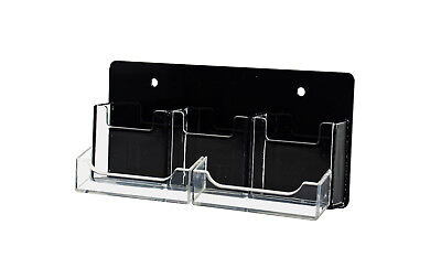 5 Pocket Business Card Holder 3 Vertical 2 Horizontal Clear Black Wall Mounted