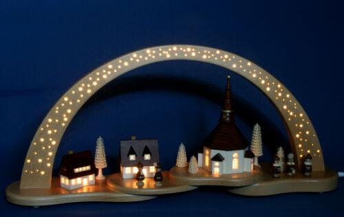 LED Schwibbogen 57cm Sternenhimmel über Seiffen Kirche Lichterbogen Erzgebirge