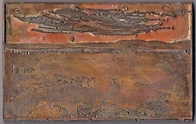 Large Copper Printers Block Plate 8 X 5 - Farm Scene - Electro Light Eng Co