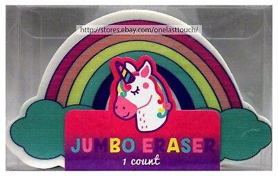 Made For Retail 4.25x2.75 Jumbo Eraser School Supplies Unicornrainbowclouds