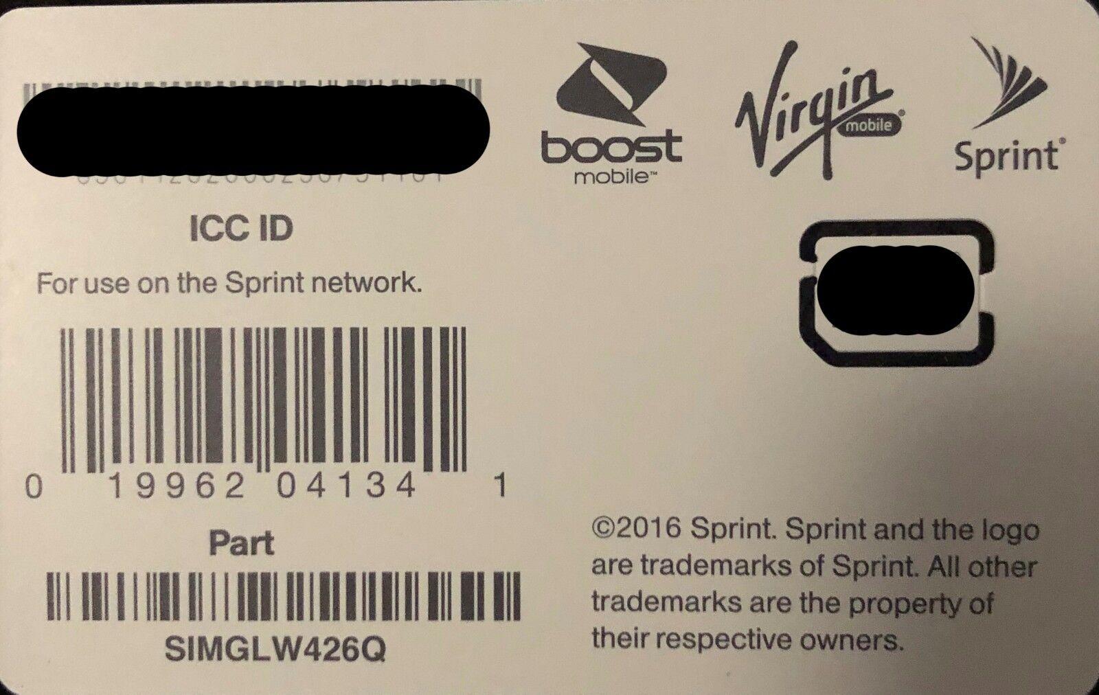 SPRINT BOOST VIRGIN MOBILE NANO SIM CARD ICCID SIMGLW426Q iP