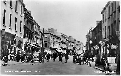 MAIN STREET TIPPERARY IRELAND RP POSTCARD by MACKEY & Co. POSTED JUNE 1952