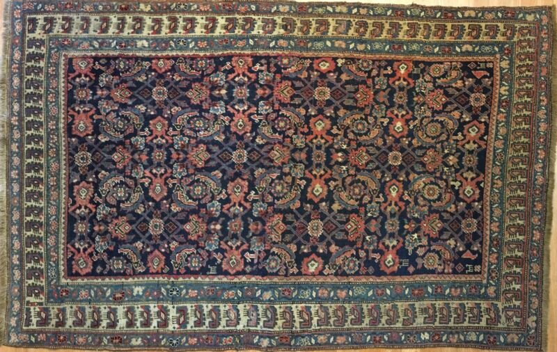 Terrific Tribal - 1910s Antique Oriental Rug - Kurdish Carpet - 4.5 X 6.10 Ft