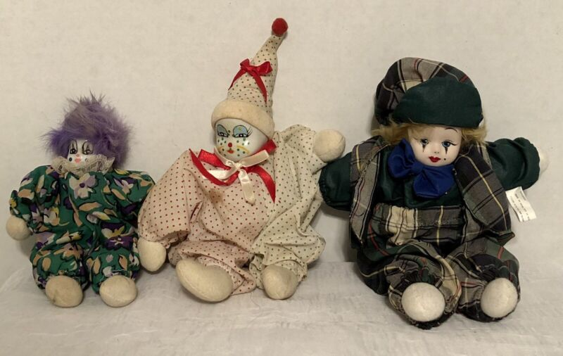 Vintage Clown Dolls With Porcelain Heads Lot Of 3 Multiple Sizes Needs Cleaning