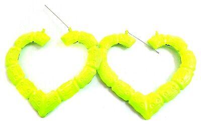 LARGE BAMBOO HEART HOOP EARRINGS NEON YELLOW HOOPS 3.5 INCH HOOPS RETRO ()