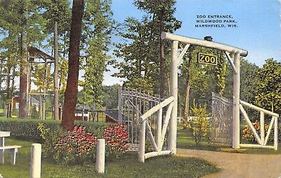 Marshfield Wisconsin~Wildwood Park~Zoo Entrance~Wooden Gate~1947 Linen Postcard ()