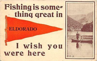 """Fishing is Something Great"" in Eldorado Illinois~Men in Boat~1913 Pennant PC"