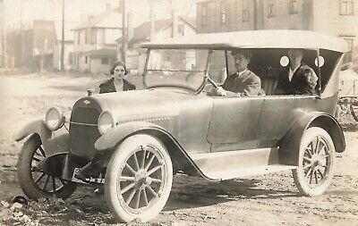 1920s Bow Ties   Gatsby Tie,  Art Deco Tie Real Photo Postcard Chevrolet with Early Bowtie Automobile 1920s    EE $4.99 AT vintagedancer.com