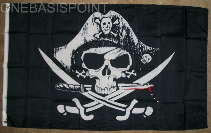 3X5 Deadman Chest Pirate Jolly Roger Flag Tricorner Skull Swords Knife Deadman