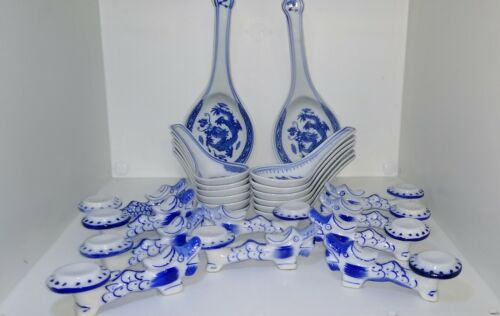 24 Pieces  Blue White Chinese Utensils-Chop Stick Rests, Serving & Soup Spoons,