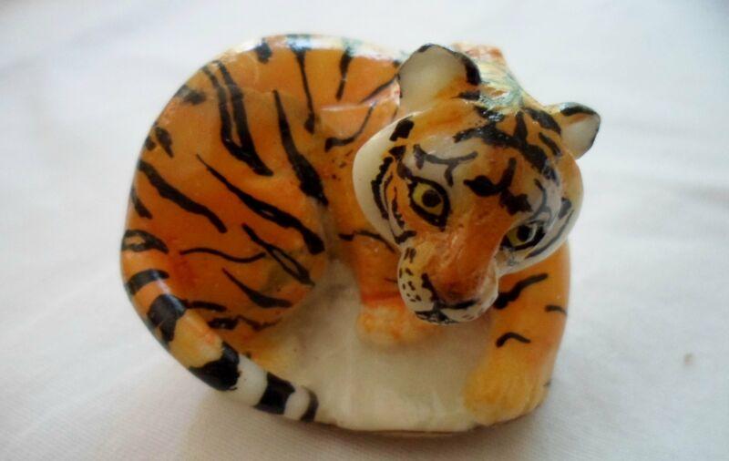Wounaan Embera Bengal Tiger Tagua Nut Carving-Panama 21051321L