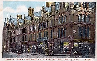 SOUTH CITY MARKET BUILDINGS SOUTH GREAT GEORGES ST DUBLIN IRELAND POSTCARD 1907