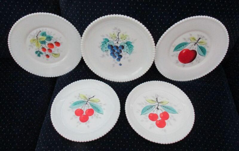 Set of 5 Westmoreland Milk Glass Beaded Edge Fruit Luncheon & Salad Plates