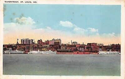 VTG POSTCARD WATERFRONT STEAMER SHIP BOATS DOWNTOWN ST LOUIS MISSOURI MO / B18