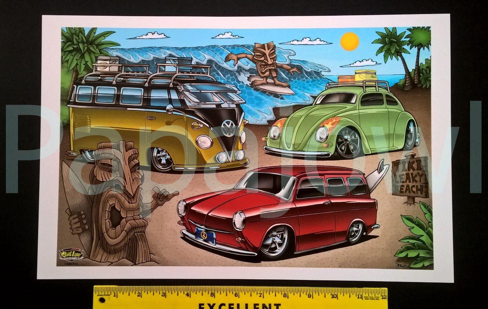 VW Tiki Art Beach Volkswagen Beetle Surf Wagon Squareback Poster Print  - $10.85