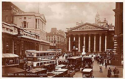 B85848 bank and royal exchange double decker bus car   london uk
