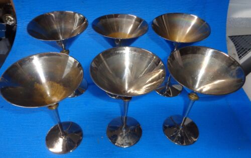 """Martini Cocktail Cups Silverplate 7"""" Tall set of 6    BR2"""