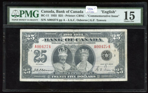 1935 Bank of Canada $25 - PMG Choice Fine 15