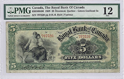 5 Royal Bank Of Canada 1909  Green Outlined 5S  Fine 12  Graded By Pmg
