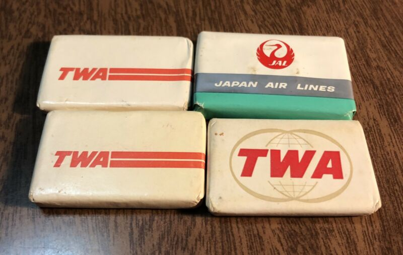 Vintage Travel Mini Bars of Soap - 3 TWA Trans World Airlines 1 Japan Air Lines