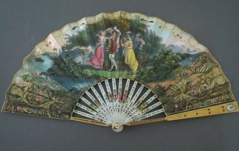 Antique 19th C Victorian Mother of Pearl & Gilded Brass with Jewels Hand Fan