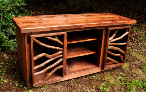 TV Media Table Stand Rustic Wood Furniture Cabinet Log Cabin FREE SHIPPING!
