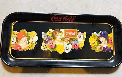 """VINTAGE 1987 """"LADIES WITH PANSIES"""" COCA-COLA BLACK TRAY"""