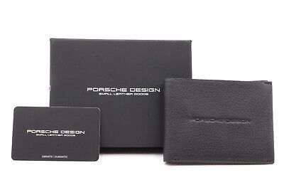 PORSCHE DESIGN WALLET CARTERA BILDFOLD CARDHOLDER PIEL LEATHER BLACK BOX NEW