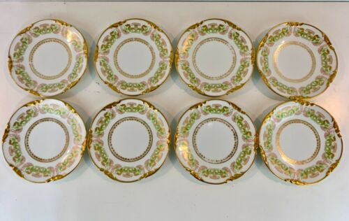 Antique Jean Pouyat Limoges Porcelain Set of 8 Plates w/ Gilt Trim & Floral Dec.