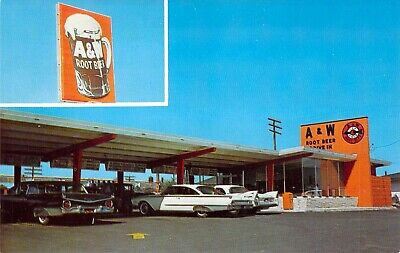 postcard A & W Root Beer Drive-IN Restaurant 1950's Autos Dexter Press A82