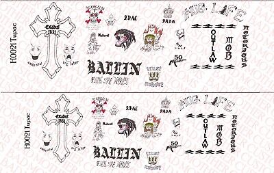 1//6 Scale Custom Tattoos Waterslide Decals Military Black and White pack