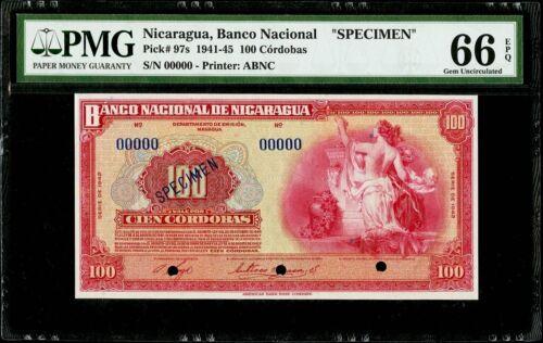 """100 Cordobas 1941-45 Nicaragua, Banco Nacional """"SPECIMEN"""" PMG 66 EPQ Gem Unc"""