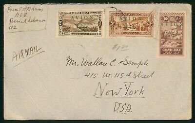 Lebanon Beirut to New York 1930s Commercial Airmail Cover