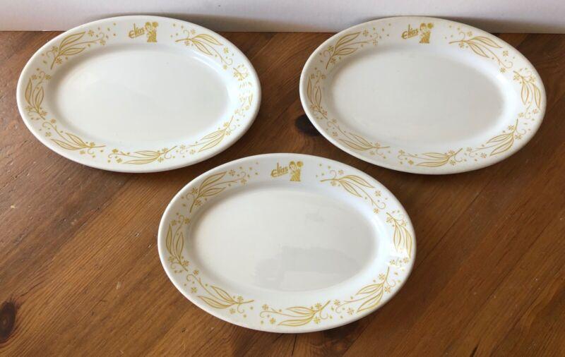 "Vintage Set of 3 Elias Brothers Big Boy Oval Restaurant Plates 6 1/2"" x 9 1/2"""