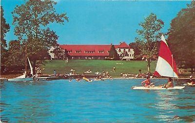 Angola Indiana~Potawatomi Inn~Sail Boat View~1971 Postcard