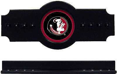 NCAA Florida State Seminoles 2 pc Hanging Wall Pool Cue Stick Holder Rack Black