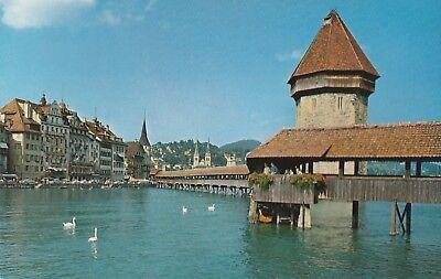 AK Luzern, Kapellbrücke mit Wasserturm
