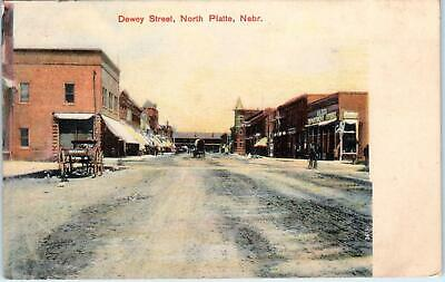 NORTH PLATTE, NE Nebraska    DEWEY STREET Scene  1908   Lincoln  County Postcard