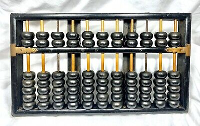 Vintage Wooden Lotus Flower ABACUS Republic China 11 Rods 2 Metal 77 Beads Wood
