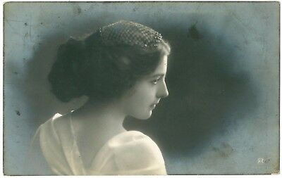 Beautiful young lady / girl portrait postcard, 1911 Glasgow postmark.