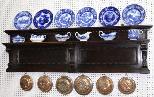 Antique Walnut Kitchen Plate Rack Wooden Hanging Shelf Circa 1880