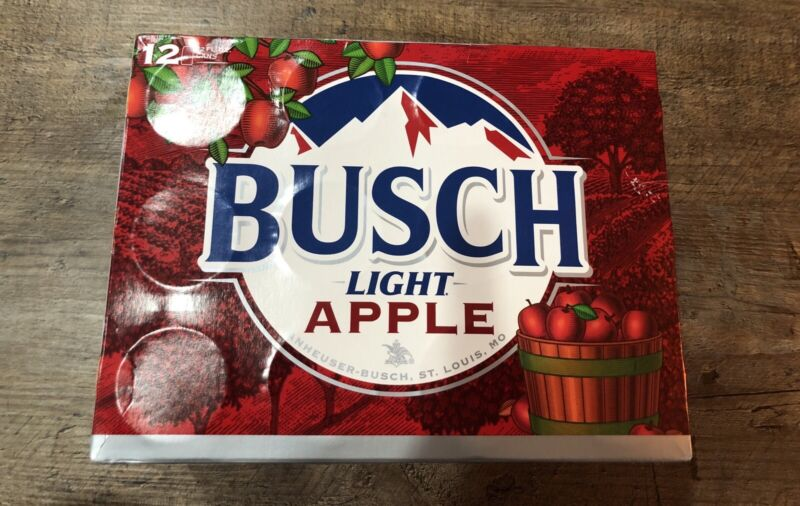 LIMITED EDITION BUSCH LIGHT APPLE 12 PACK CAN BOX empty RARE SOLD OUT! man cave