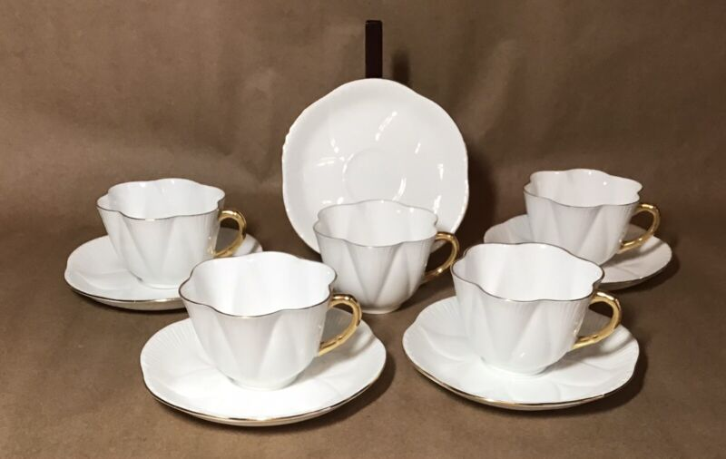 Lot 5 Vintage Shelley Regency White Gold Bone China Cups & Saucers Rd272101