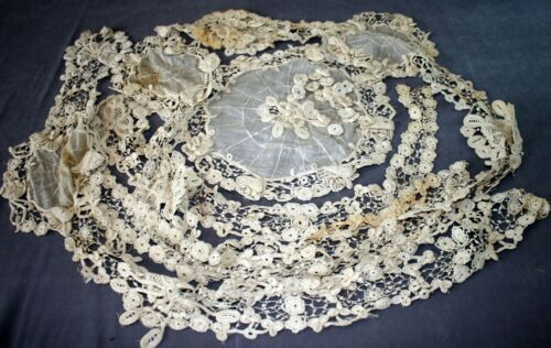 Antique/Vintage Handmade Cotton Lace Sections From a Wedding Dress + 22 Flowers