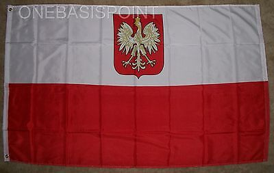 3'x5' Old Poland Eagle Flag Polish Crest White Outdoor Banner Polska Pennant 3X5