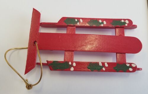 """Red Wooden Sled Christmas Tree Ornament Hand Painted Vintage 5"""" Holly Leaves"""